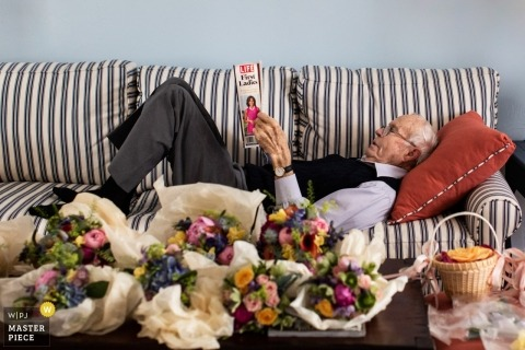 Grandfather of the Bride resting before the wedding | Nantucket Massachusetts | Private Home Wedding on Nantucket Island