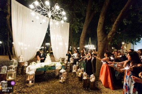Apulia, Rome ceremony wedding photography during an outdoor event with lights