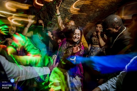 Mumbai, India wedding reception dance party photography