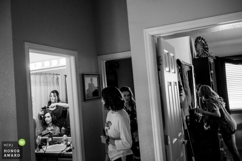 Bridal Prep Wedding photojournalism in Denver  - Girls getting ready