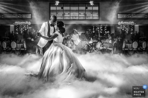 London wedding reception photography with fog on dance floor