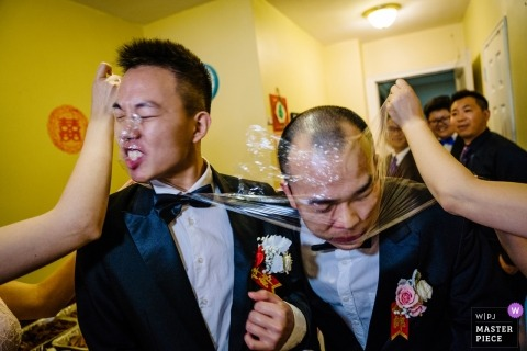 New York wedding photos of gate crashing men