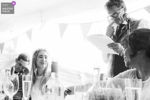 emotional speeches during the UK wedding reception in west sussex