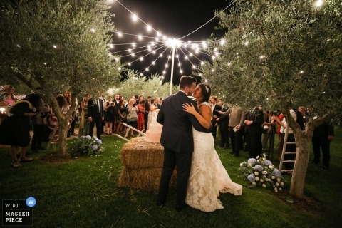 Outdoor fairy wedding ceremony in the trees in Puglia