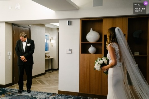 Wedding photograph of dad seeing bride for the first time... emotional response | Wedding day moments captured in Manhattan, New York
