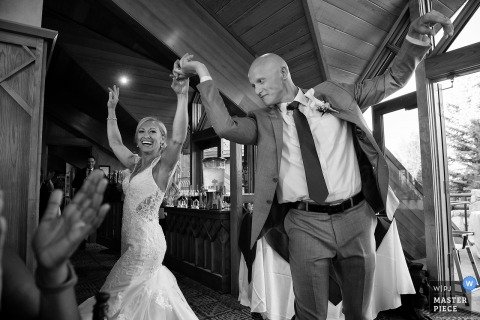 Wedding reception picture of dancing bride and groom by Lake Tahoe, NV wedding photographer