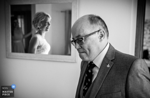 hertfordshire wedding photographer - A father sees the bride on wedding day