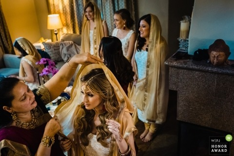Wedding photos of bride getting ready in San Diego