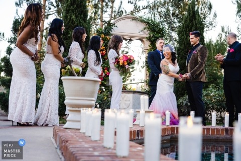 San Diego, CA outdoor ceremony with candles - California Wedding Photography
