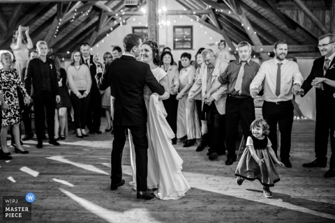 Czech Republic wedding reception picture of bride and groom during their first dance by a Prague wedding photographer