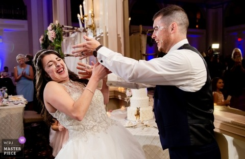 Wedding Reception at the Bethlehem Hotel, PA | Cake Smash with Bride and Groom