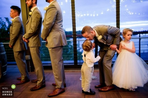 Washington DC documentary wedding photo during ceremony with kids