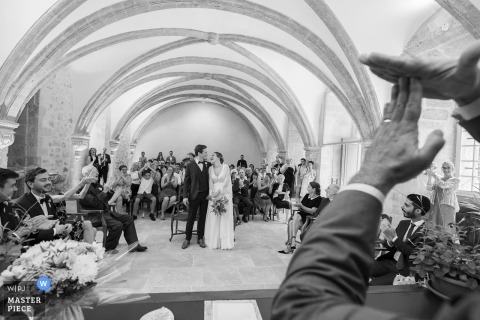 Marseille, France Wedding Photography during the ceremony...in black and white.