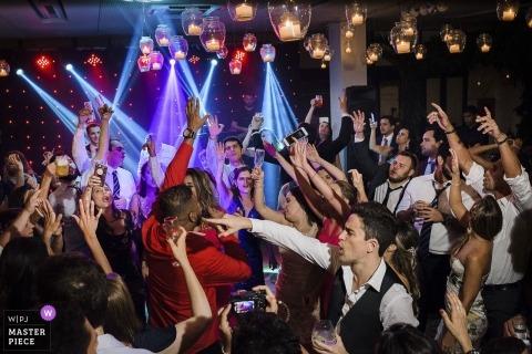 Tribuna B, Jockey, Rio de Janeiro, Brasilien Hochzeitsempfangsparty mit großen DJ-Leuchten