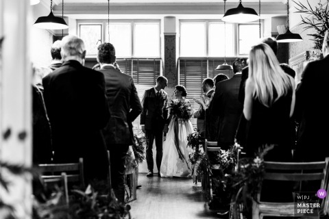 The William Cecil at Stamford - indoor wedding ceremony photograph of the bride and groom