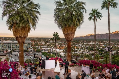 O'Donnell House Palm Springs, California | Bride and groom's first dance overlooking Palm Springs