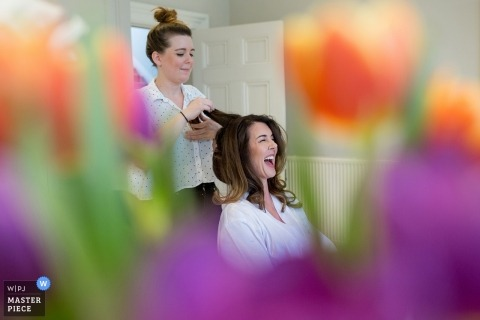 Bath Assembly Rooms - the bride is Getting ready in a room filled with bright Spring flowers