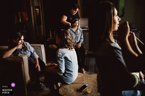 501 Union wedding - Bridesmaids getting makeup - New York Wedding Photograph