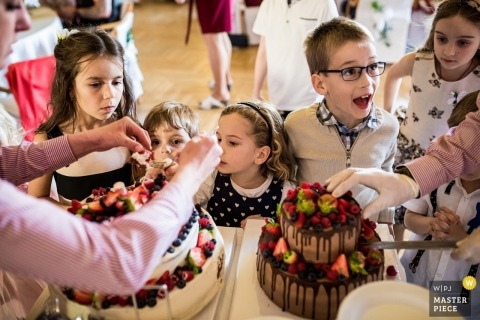 Nové Adalbertinum kids are actively involved - cutting the cakes at the wedding reception