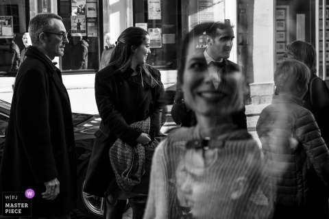 Epinal (France) reflection of many guests in this Wedding Photograph