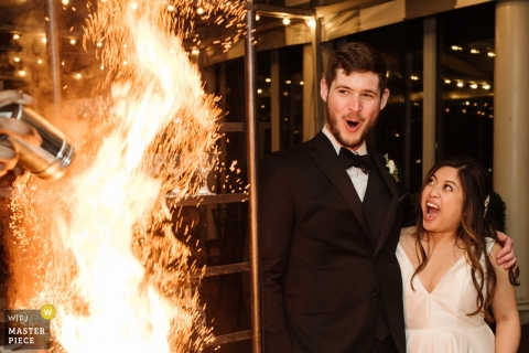Feasterville, PA wedding reception - bride Groom On Fire