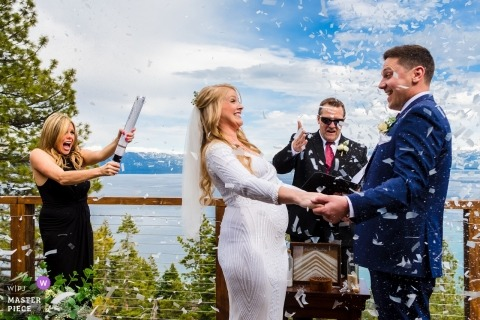 Lake Tahoe, California wedding photography (private home)   you are now pronounced husband and wife