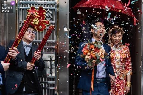 Guangzhou verrassing confetti kanonnen - echte trouwdag fotografie