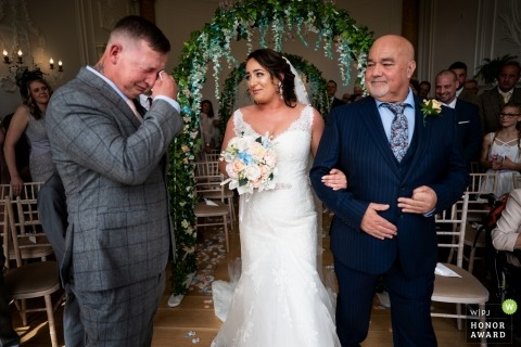 Rockbeare Manore Wedding Ceremony Tears from the Groom - Event Photography
