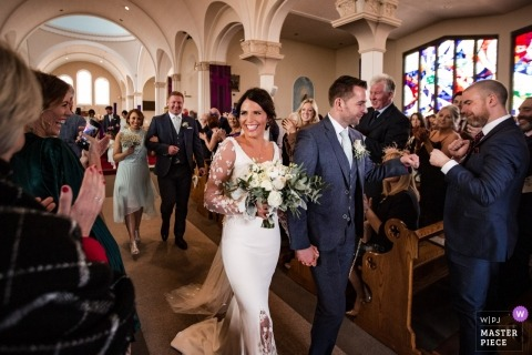 church exit for the bride and groom in galway - Dublin wedding photographer
