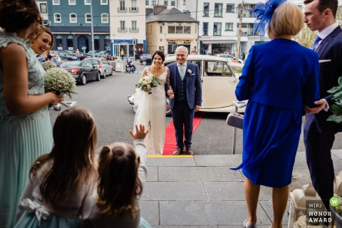 Galway, Ireland Wedding Reportage Photo - Arrival of the bride at church