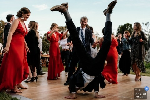 UCSC Arboretum Santa Cruz, CA wedding photographer | Dancefloor action with outdoor breakdancing guests
