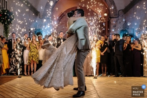 Quinta Real Oaxaca wedding photographer | first dance for the couple with indoor fireworks