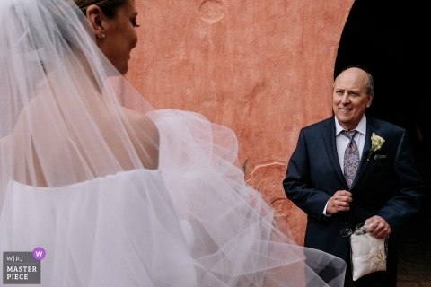 Photo of the father seeing his daughter for the first time on her wedding day in Oaxaca, Mexico.