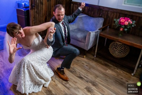 The bride and groom gettin down at the Trigger in Chicago.
