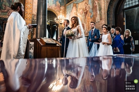 Sofia, St. Nedelia Church - reflected wedding ceremony