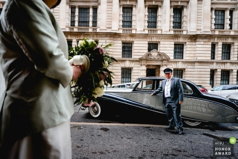 One Great George Street, London chauffeur with the wedding car