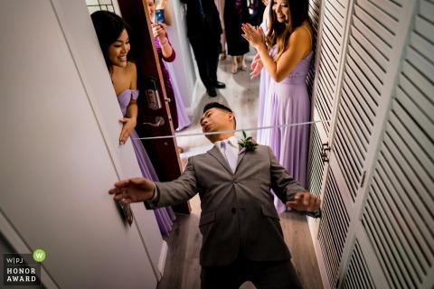 Wedding photo from the Bride's Home - Garden Grove, CA | Nothing can stop the groom coming to his bride