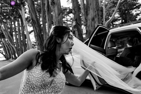 Half Moon Bay - Harley Farms Wedding Photograph of the brides stuck veil in the car.