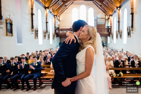 Meath, Ireland wedding ceremony photography | First hug after the first kiss