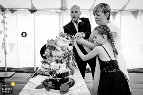 Field Good Bar (Bath) - Wedding Photo - The cake cutting didnt quite go according to plan as it topples...brides face says it all