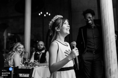 L'Ambroisie, Montreal, Quebec Wedding Photographer | Image of the Flower girl giving a speech during wedding reception