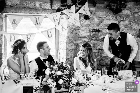 Healey Barn, Northumberland Wedding Photography | Best Man's speech gets the best reaction possible with shock and laughter all round.