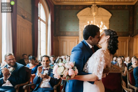 Paris wedding ceremony photographer | They've just said YES ! Wedding kiss