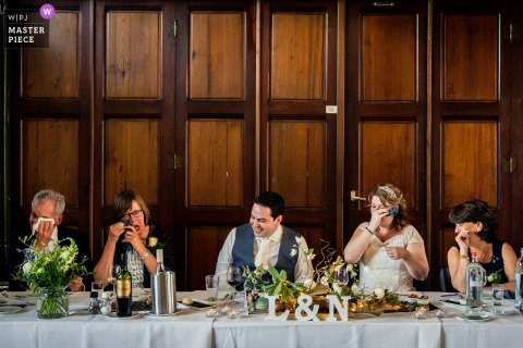 De Vlaamse Spijker, Dongen wedding photography showing tears from bridal party after dad ended his speech.