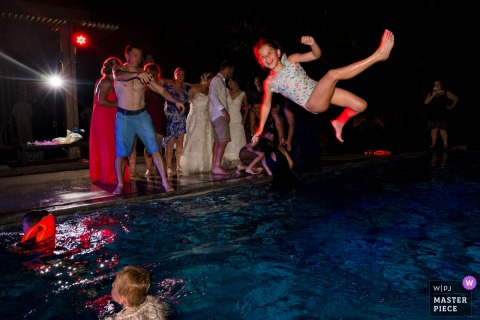 Salinda Resort Wedding Reception Photography of Pool Party at Night