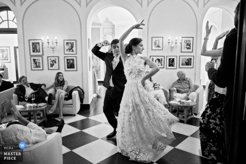 Belmond Hotel Splendido Portofino wedding photograph of the bride and groom take center stage for a dance during the wedding party