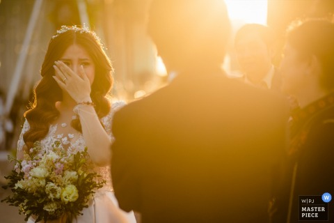 River View Hotel / Can Tho Wedding Day Photography | Bride was crying after her father's speech.