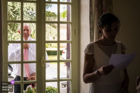 Châteauroux Wedding Day Photographic Image - I Hope Dad wont see me until Church