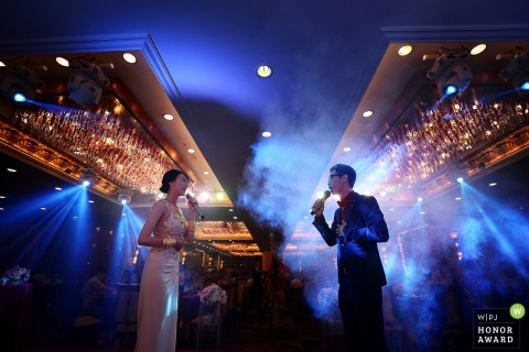 Zhuhai China photography under blue lights at the reception of wedding