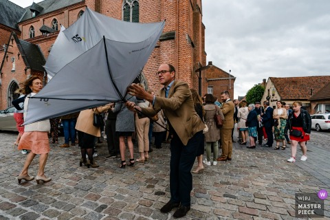 Wedding Day Rain Photography at Koolputten Waasmunster - Belgian weather at it's best...